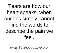 Tears are how our heart speaks, when our lips simply cannot find the words to describe the pain we feel.