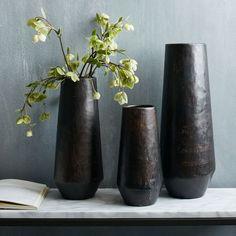 """Recycled Metal Vases   west elm Small: 5""""diam. x 10""""h. Medium: 5.5""""diam. x 13""""h. Large: 6.6""""diam. x 17""""h."""