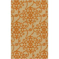 9' x 12' Starry Jasmine Citrus Orange and Taupe Hand Hooked Outdoor Area Throw Rug, Outdoor Décor