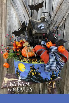 Excited to share this item from my shop: Halloween Centerpiece, Halloween Decor, Fall Centerpiece, Fall Decor, Haunted House Centerpiece Holidays Halloween, Halloween Crafts, Halloween Decorations, Christmas Decorations, Halloween Wreaths, Halloween Centerpieces, Halloween Stuff, Floral Centerpieces, Christmas Wreaths For Front Door
