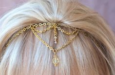Items similar to Majestically inspired Adjustable Headband or Forehead Band makes a perfect Bridal Party Headband that can be worn in so many different ways! on Etsy Hair Necklace, Hair Jewelry, Head Band, Renaissance Jewelry, Hair Ornaments, Headpiece, Choker, Hairstyle, Dance