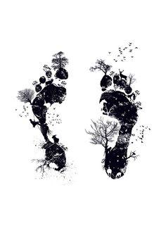 Nature's footprint Art Print - do white paint on black canvas