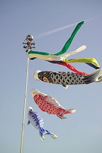 [こいのぼり(鯉幟)] 元来、日本の風習で、江戸時代に武家で始まった、端午の節句である旧暦の5月5日までの日に、男児の出世と健康を願って家庭の庭先で飾られた紙・布・不織布などに鯉の絵柄を描き、風をはらませてなびかせる吹流しを鯉の形に模して作ったのぼり。 鯉魚旗的由来是江戸時代的武家氏族在端午節時期為了慶祝及向天神祈告家裏有男児出生和健康成長祈求所做的行事之一、日本滋賀県長浜市高月町的高時川河川広場内毎年都会懸掛有全長約50公尺的巨大鯉魚旗的活動、値得一遊!!