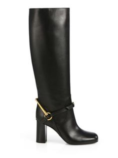 Gucci - Lillian Horsebit Patent Leather Knee-High Boots - Saks.com