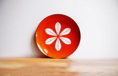 "XL 12"" Cathrineholm Platter in Orange / Excellent / Enamel Lotus Plate / Vintage Scandinavian Design / Norway / Mid Century Modern Decor"