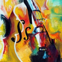 "This painting is ""Curt's Cello"". Whenever I look at it I'm reminded of drive in movie theaters, arm punches, and a cat named Sawyer."