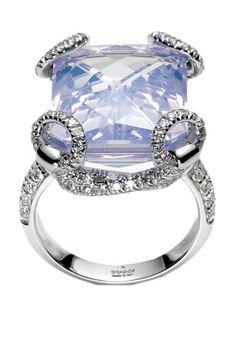 Gucci Horsebit cocktail ring in 18kt white gold, lilac quartz and diamonds, gucci.com.