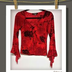 Top❤ Adorable  floral print top with bell sleeves has a bit of shimmering sparkle to it..polyester&spandex Rampage Tops Blouses