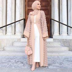 Cheap Islamic Clothing, Buy Directly from China Suppliers:Elegant Muslim Floral Abaya Dress Flowers Loose Cardigan Long Robe Gowns Kimono Jubah Ramadan Arab Thobe Islamic Prayer Clothing Muslim Dress, Hijab Dress, Hijab Outfit, Kimono Abaya, Hijab Casual, Abaya Fashion, Muslim Fashion, Modest Fashion, Modern Hijab Fashion