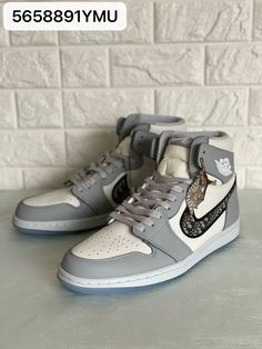 Christian Dior X Nike air Jordan leather sneakers boots gray Man Shoes, Dior Shoes, Sneaker Boots, Leather Sneakers, Christian Dior, High Tops, Air Jordans, High Top Sneakers, Nike Air