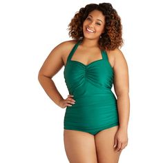 It's ModCloth's ultimate swimsuit - now in a rich emerald hue! The holy grail of swimwear, this swimsuit by the iconic Esther Williams features low-cut legs, f…