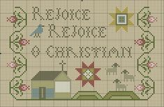 REJOICE Easter cross stitch freebie from Plum Street Samplers, other great free patterns too