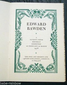 Edward Bawden 75th Birthday Exhibition 1978 Curwen Press Limited Edition | eBay