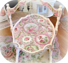 Mosiac tilt top table, vintage china mosaic, pink rose china $550     www.RomancingTheRoseStudio.com ©Website Design by: OneSpringStreet.NET 2011