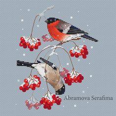 """Cross stitch design """"Bullfinches on the Snowball Tree"""" #sa_stitch #sa_pattern #pattern"""