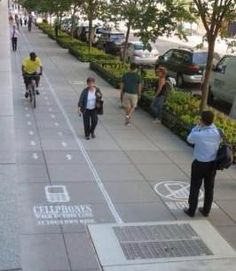 This texting lane for pedestrians started as a stunt on a sidewalk in DC, and was imitated in the 'Foreigner Street' theme park in Chongqing, China. Click image for link to full story and visit the slowottawa.ca tactical urbanism board >> http://www.pinterest.com/slowottawa/