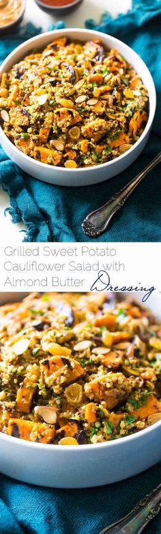 Grilled Sweet Potato Salad with Curry Almond Butter Vinaigrette - Grilled sweet potatoes, cauliflower rice and creamy almond butter make this a healthy, Paleo, whole & Vegan-friendly side dish for the Summer!   #Foodfaithfitness   #paleo #vegan #whole30 #healthy #potatosalad