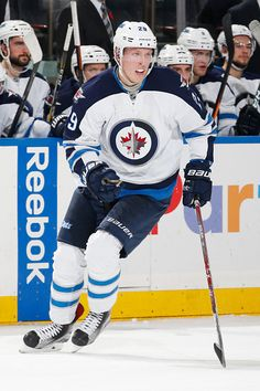 4b3cb910f Patrik Laine of the Winnipeg Jets skates against the New York Rangers at  Madison Square Garden
