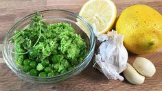 Nem, lækker, hurtig og sund ærtemos med hvidløg. Dip. Dyppelse. Forslag til madpakke. Inspiration.