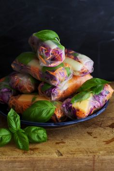 Melon Basil Summer Rolls by golubka: So refreshing! #Summer_Rolls #Melon