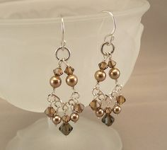 Seed bead chandelier earrings by lizzysblingythingys on etsy cute brown crystal chandelier earrings bronze by bridaldiamantes mozeypictures Choice Image