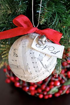 Handmade ornaments made from vintage sheet music #Christmas #crafts