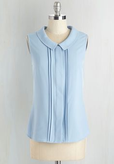 Profesh of Both Worlds Top in Sky. For a poised look that gracefully transitions from the office to the bistro, reach for this blue blouse - a ModCloth exclusive! #blue #modcloth