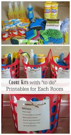 Chore kits with printable chore lists for each room