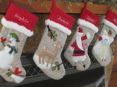 Santa Christmas Stocking with Monogram Pottery by BenLovesBirdy, $28.50
