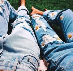 jeans denim mom jeans ripped jeans daisy flowers                                                                                                                                                     More