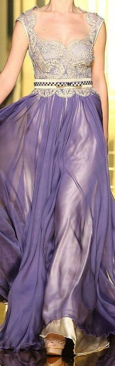 Lavender Chiffon and Gold Lace Bodice Gown by Mireille Dagher 2013 haute couture