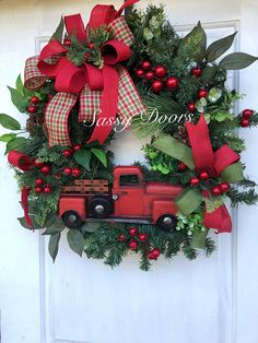 Red Truck Wreath, Christmas Red Truck Wreath, Rustic Christmas Wreath, Woodland Christmas Wreath, Front Door Christmas Wreath, Sassy Door Wreath Designed on a pine Christmas wreath and accented with snow covered berries, eucalyptus, and all the trimmings. We are accepting custom orders please capture a photo of the wreath and or ribbon choice. Please send us a direct contact for you so that once your order is ready we can contact you. We will send photo for your approval before you…