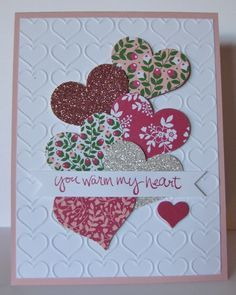 Barb Mann Stampin' Up! Demonstrator - SU - CAS - Sheltering Tree - Valentine's Day, love, friendship Valentines Day Cards Handmade, Valentines Day Hearts, Valentines Decoration, Valentines Diy, Paper Cards, Bloomin Love Stampin Up, Friendship Day Cards, Holiday Cards, Christmas Cards