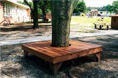 Wine Bottle Garden, Beer Garden, Deck Around Trees, Yard Benches, Garden Water Fountains, Tree Bench, Deck Landscaping, Tree Base, Rock Decor