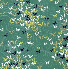 Different color scheme but still very pretty - navy blue, white and gold butterflies on celadon green