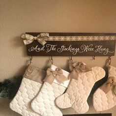 Christmas Stocking Holder Sign And The Stockings Were Hung Funny Wedding Gifts, Wedding Shower Gifts, Wedding Signs, Baby Shower Gifts, Christmas Stocking Holders, Christmas Stockings, Realtor Gifts, Porch Decorating, Wood Signs