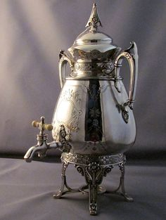 SILVER SAMOVAR ANTIQUE........extensively engraved, mounted onto warming base, exquisite 1880s by blingblingfling on Etsy
