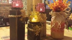 Candle stands and candy corn bottle