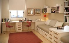 Fancy Small Floorspace Kids Rooms with Veneer Floor : Elegant Modern Beige Twin Kid's Study Room With Natural Wooden Floor Then Added With Modern White Sofa Bed With Storage Below Designed With Beige Mattress