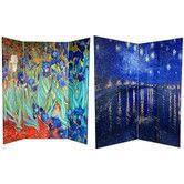 Tall Double Sided Works of Van Gogh Canvas Room Divider - Irises/Starry Night Over Rhone - Wide selection of Room Dividers, Shoji Screens, Oriental and Asian Home Furnishings, Chinese Lamps and accessories at warehouse prices. Fabric Room Dividers, Decorative Room Dividers, Hanging Room Dividers, Sliding Room Dividers, Decorative Screens, Small Room Divider, Room Divider Bookcase, Bamboo Room Divider, 4 Panel Room Divider