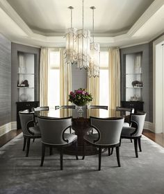 How do I modernize my Elegant Dining room furniture? How can I make my Elegant Dining room look bigger? Is it Elegant Dining room or dinning room? Luxury Dining Room, Elegant Dining Room, Dining Room Lighting, Formal Dining Rooms, Grey Dinning Room, Design Living Room, Dining Room Design, Dining Room Furniture, Room Chairs