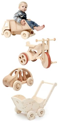 Handmade Wooden Toys, Tricycle, Dump Truck, Cars