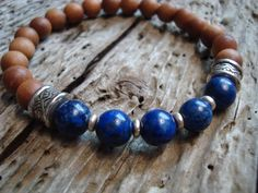 wtfbeads...Mens Fragrant Sandalwood Lapis Lazuli Beaded Stretch Wood Bracelet #wtfbeads #Beaded