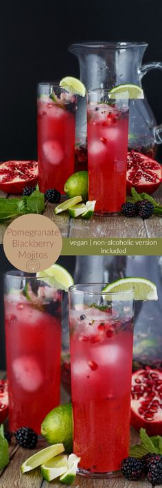 Pomegranate Blackberry Mojitos | http://thecookiewriter.com | #drink #alcohol #nonalcoholic #mojitos #Christmas #vegan #glutenfree #Newyears
