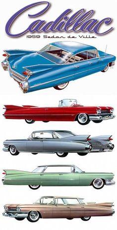 "1959 Cadillacs Note the ""flat-top"" hard tops, as compared to the sedan. 1959 Cadillacs Note the ""flat-top"" hard tops, as compared to the sedan. 1959 Cadillac, 1957 Chevrolet, Chevrolet Trucks, Chevrolet Impala, Auto Retro, Retro Cars, Rad Tattoo, Vw Vintage, American Classic Cars"