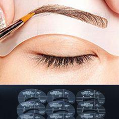 6 Styles Eyebrow Template Set Grooming Stencil Kit Makeup Shaping DIY Tool 4pcs #Newlook