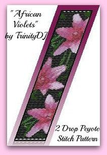 BPFLO055  African Violets  2 Drop Peyote Stitch by TrinityDJ, $6.50