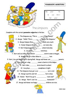 The Simpsons worksheet on Possessive Adjectives