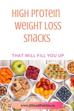 Lose weight by filling up on protein. Stay full for longer with less calories. Trying to increase protein macors? Check out these ideas for high protein snacks for weight loss. High Protein Snacks, Low Carb High Protein, High Protein Meal Prep, Best Protein, High Protein Recipes, Healthy Meal Prep, Healthy Snacks, Snack Recipes, Protein Foods