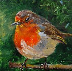 """Olieverf """"Roodborstje III"""" op paneel maat 10 x 10 cm (Verkocht) email mij voor een schilderij in opdracht"""